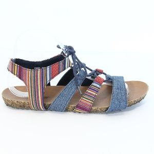 Minnetonka Gladiator Sandals Women sz 9 Striped